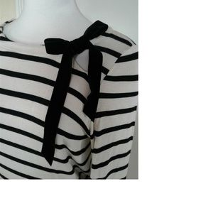 Libby Edelman Black Striped L/S Stretch Top Medium